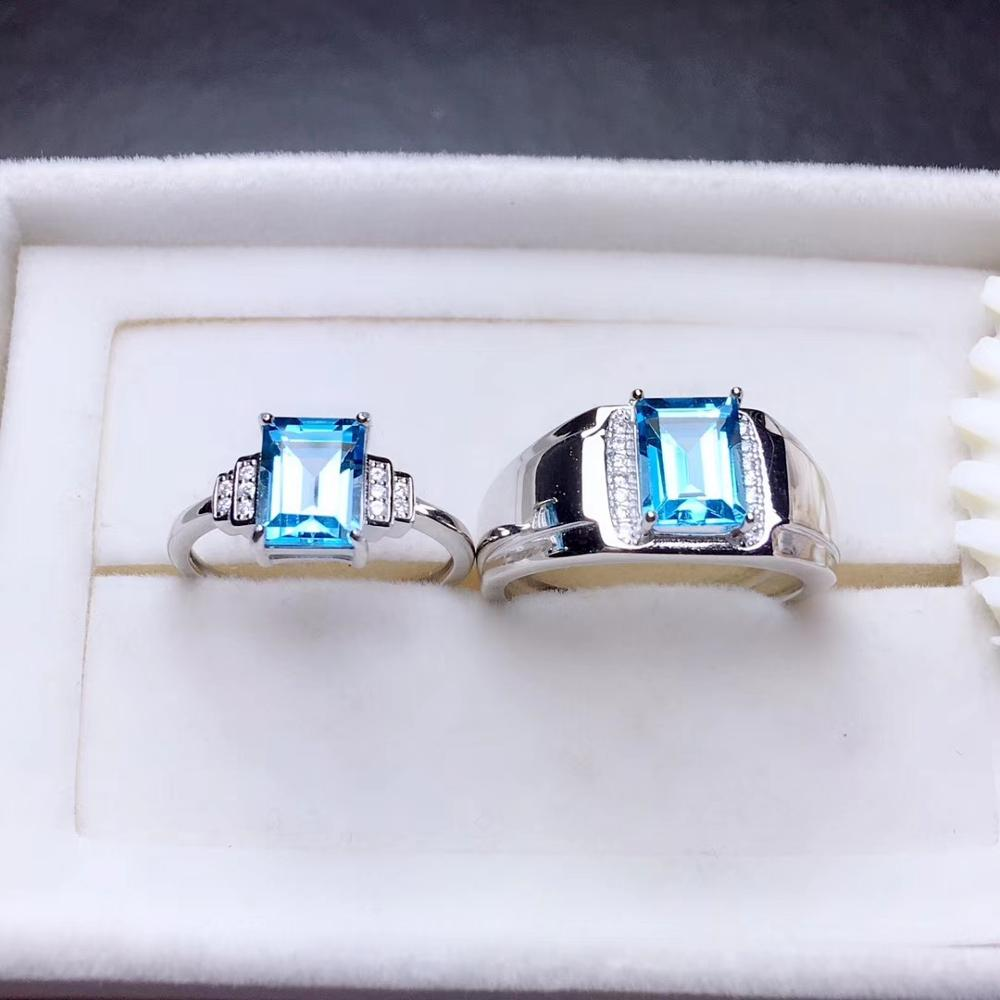 couple ring natural topaz gemstone Ring real 925 sterling silver ring valentine good blue color gem anniversary gift