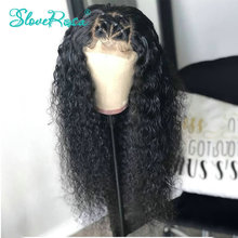 13X4 Curly Lace Front Human Hair Wigs 130% Density Peruvian Remy Hair Pre Plucked Bleached Knots For Black Woman Slove Rosa