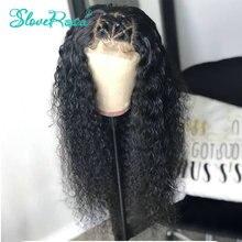 13X4 kręcone koronki przodu włosów ludzkich peruk 130% gęstości peruwiańskie włosy Remy pre oskubane bielone węzłów dla czarnej kobiety Slove Rosa