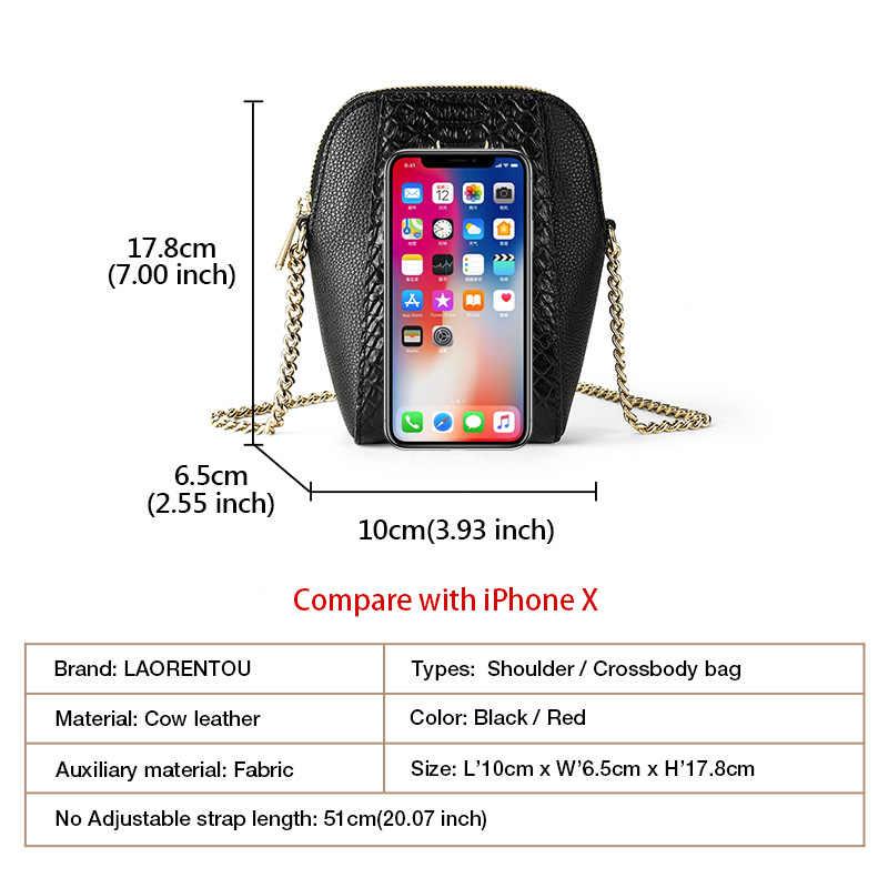LAORENTOU meisje Stree Mode Telefoon Tas Mini Crossbody Bag Real Leather Retro Iphone 11 Keten Schoudertas Vintage Koeienhuid tas