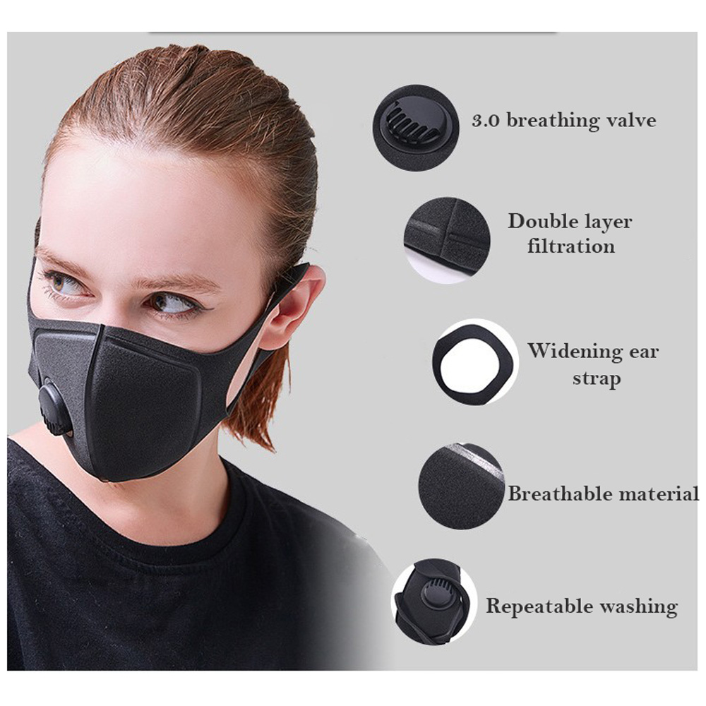 Anti-dust Mouth Mask Sponge PM2.5 Anti Haze Mask Breath Valve Activated Carbon Filter Respirator Mouth-muffle Reusable Masks