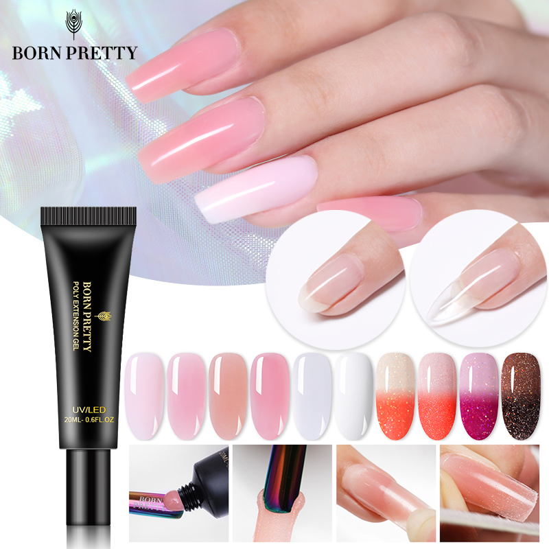 BORN PRETTY Nail Acrylic Poly Extension UV Gel Clear UV LED Quick Building Nail Gel Tips Enhancement Slip Solution Tools 20ml