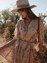 Lioness Tunic Dress Women Summer Short Sleeve V Neck Floral Chic Mini Dresses 2019 Beach Clothes Boho Print Vintage