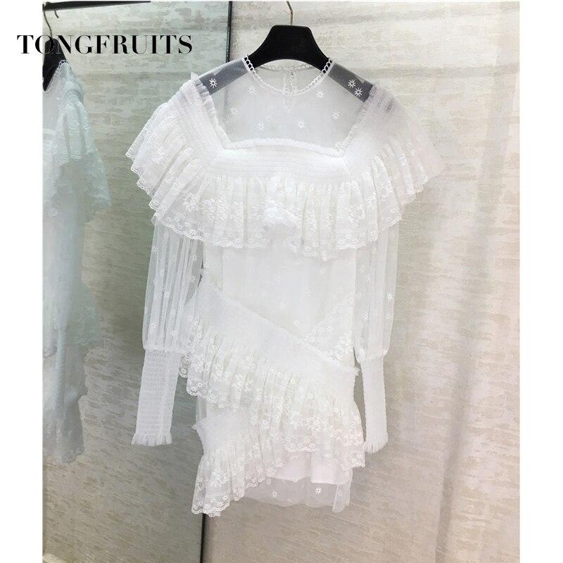 Sexy dentelle côté robe piste concepteur Transparent vague point imprimé asymétrique Mini robe - 4