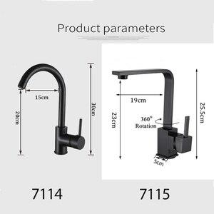 Image 5 - Grifos de latón para cocina grifo de agua del fregadero de cocina grifo giratorio 360, mezclador de un solo soporte, grifo mezclador negro de un solo orificio 7115