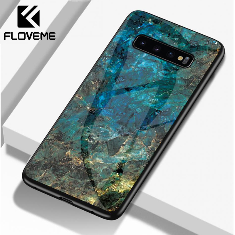 FLOVEME Marble Glass Case For Samsung Note 9 10 S9 S8 S10 Plus Phone A50 A30 A40 A70  A7 2018 Back Cover