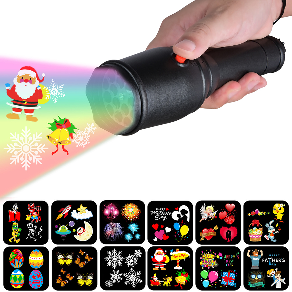 LED Christmas Lights Projector 12 Patterns Indoor Kids Projection Flashlight Light For Halloween Easter Birthday Party Light D30