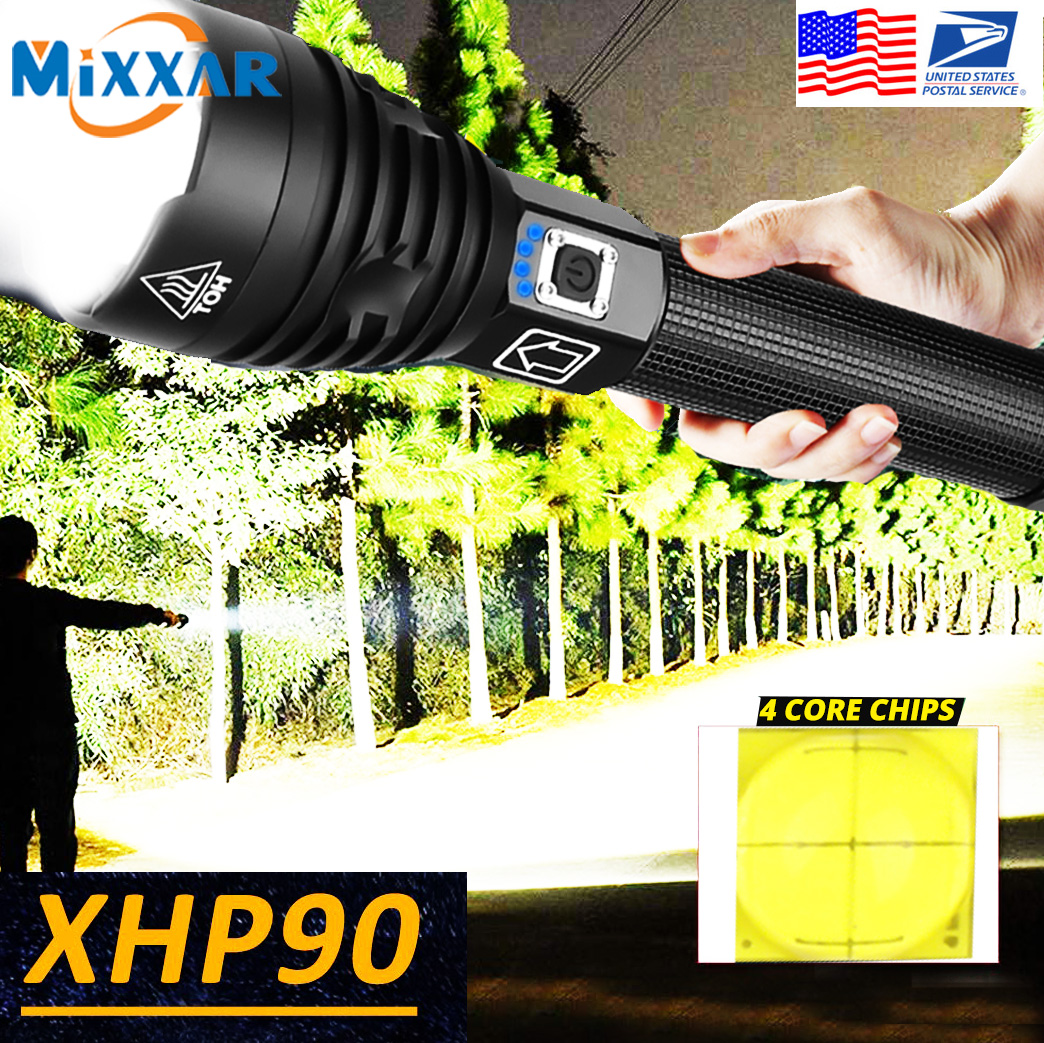 Powerful Torch Flashlight Zoom Xhp90 Led Usb Rechargeable 26650 18650 EZK20
