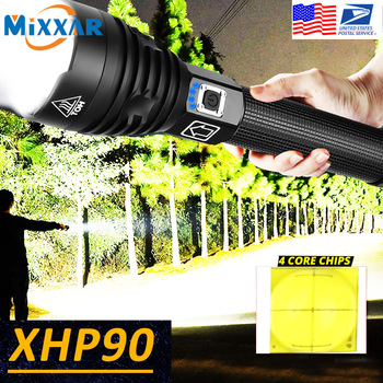 EZK20 Dropshipping XHP90 LED Flashlight Zoom USB Rechargeable Power Display Powerful Torch 18650 26650 Handheld Light