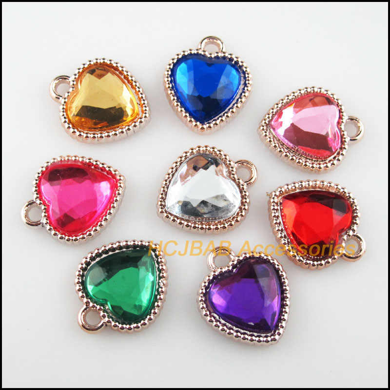 Fashion 12Pcs KC Emas Warna Campuran Akrilik Hati Charms Liontin 15.5x18mm