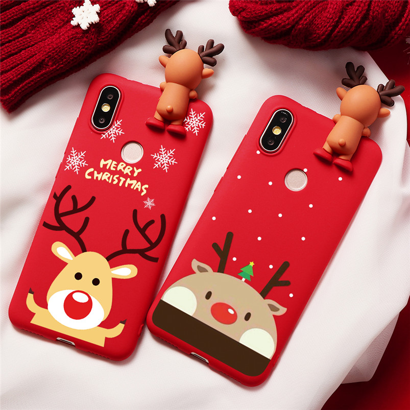 Christmas <font><b>Cover</b></font> For <font><b>Xiaomi</b></font> Redmi Note 5 6 7 Pro S2 <font><b>Mi</b></font> A1 A2 <font><b>A3</b></font> 8 8X Lite 9 SE Explorer CC9 CC9e Cartoon NEW YEAR Gift TPU Case image