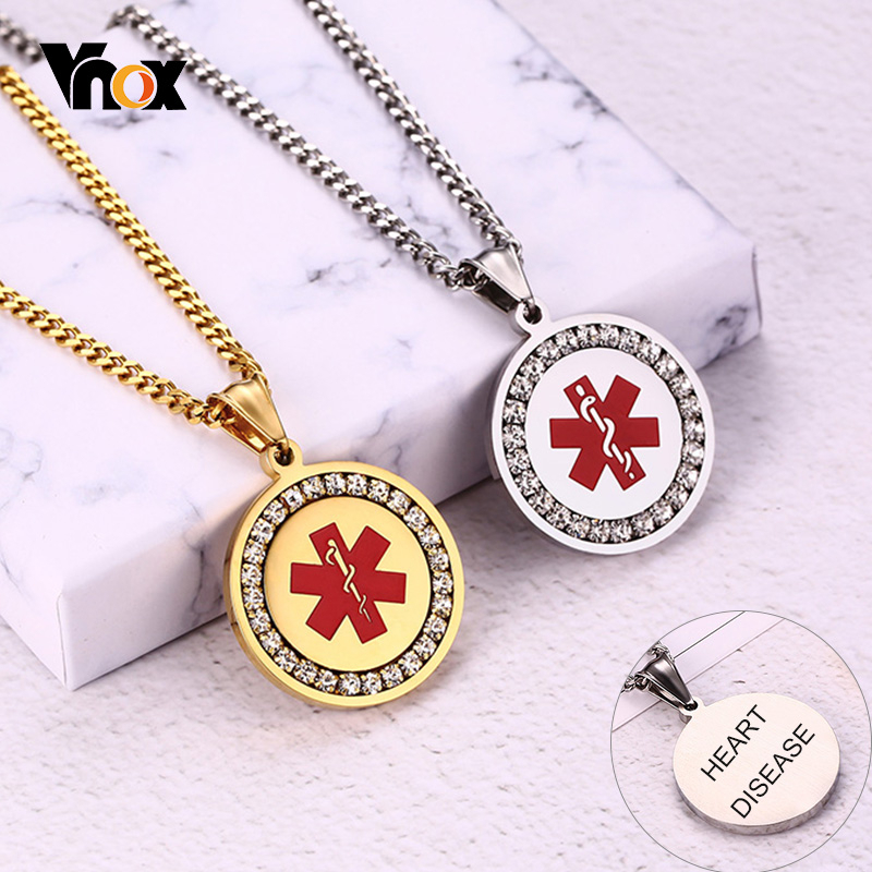 Vnox Free Custom Medical Alert ID Necklaces For Men Women Stainless Steel Type 2 Diabetes EPILEPSY Personalized Pendants