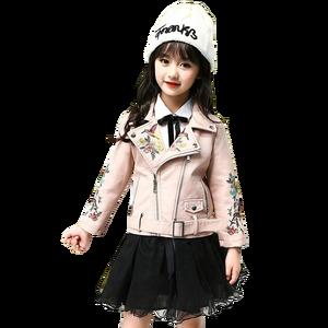Image 1 - עור מעיל עבור בנות פרח רקמת ילדים של מעיל עבור בנות אופנה ילדי הלבשה עליונה אביב סתיו ילדים בגדים