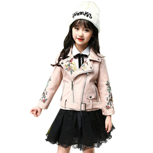 Leather Jacket For Girls Flower Embroidery Childrens Jacket For Girls Fashion Children Outerwear Spring Autumn Kids Clothes