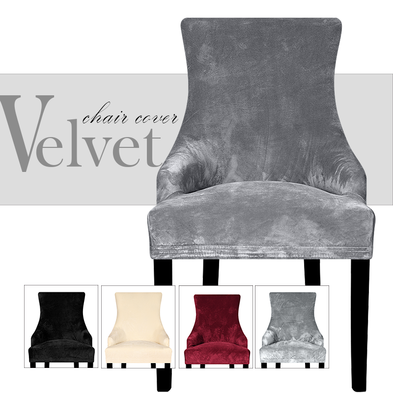 Real Velvet Fabric Sloping Arm Chair Cover Big Size Wing Bakc King Back Chair Covers Seat Covers For Hotel Party Banquet Home