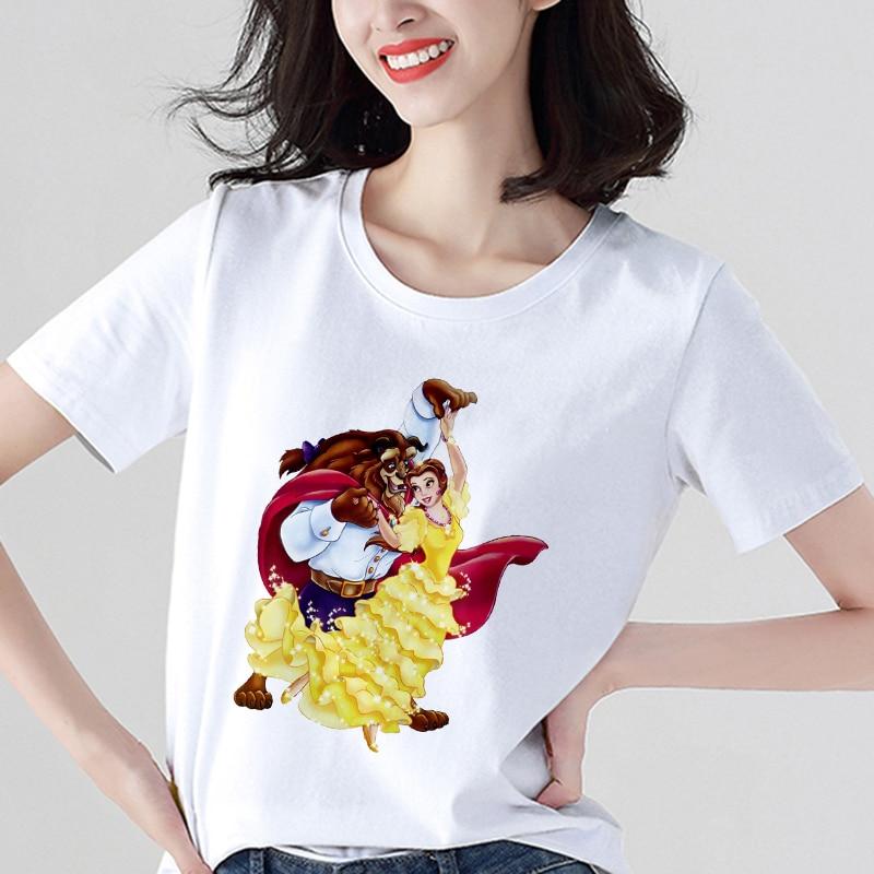 Beauty And The Beast Printed T Shirt Women Fashion Harajuku Short Sleeve T-shirt White Suitable Four Seasons Tshirt Tops Clothes