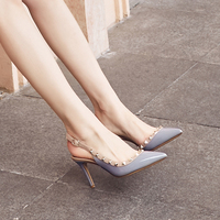 Fashion Buckle Sandals New Rivet Pointed Toe Thin Heels Sexy Stilettos Cover Toe Lady Pumps Daily High Heeled Women Summer Shoes