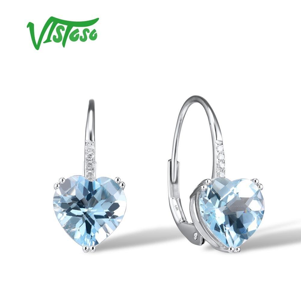 VISTOSO Gold Earrings For Women 14K 585 White Gold Sparkling Sparkling Luxury Diamond Blue Topaz Wedding Engagement Fine Jewelry
