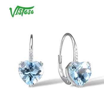 VISTOSO Gold Ohrringe Für Frauen 14K 585 Weiß Gold Funkelnden Funkelnden Luxus Diamant Blau Topas Hochzeit Edlen Schmuck