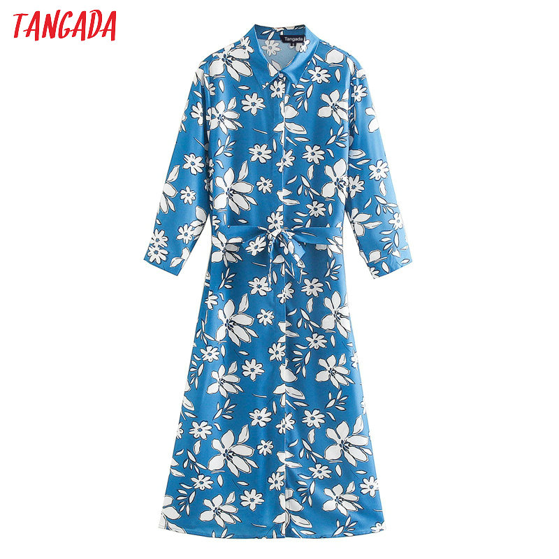 Tangada Women Floral Print Shirt Dress Long Sleeve 2020 Spring Style Female Casual Stylish Dresses Vestidos XN431
