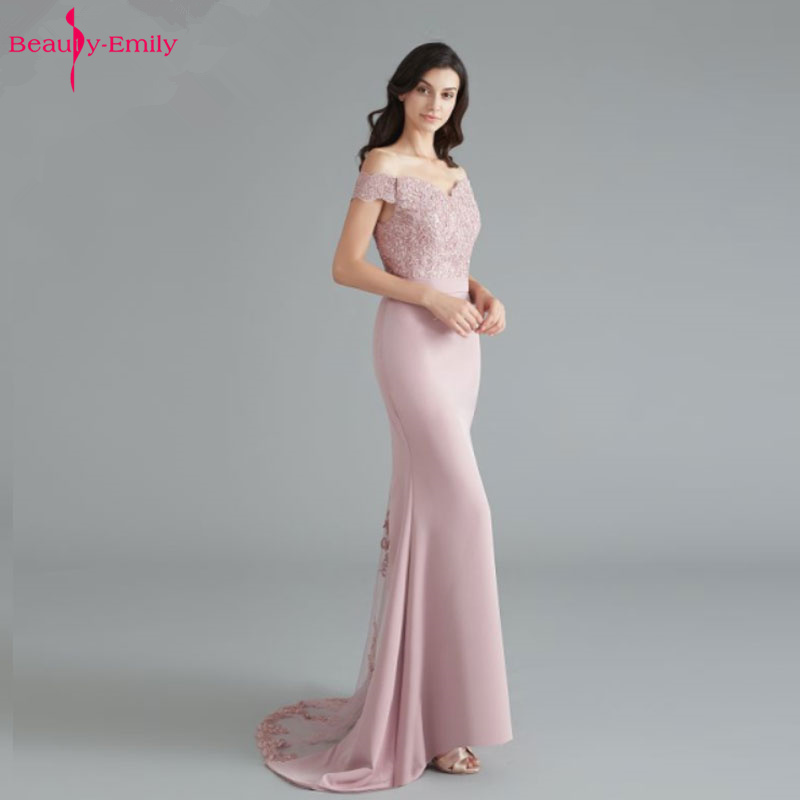 Beauty-Emily Off The Shoulder Bridesmaid Dresses Long Party Dress For Wedding Guest Short Sleeve Hollow Lace Mermaid Prom Gown