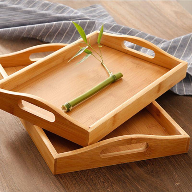 Сервировочный поднос из бамбука с ручками, поднос для чая, поднос для бара, поднос для завтрака, поднос для еды PXPC-1