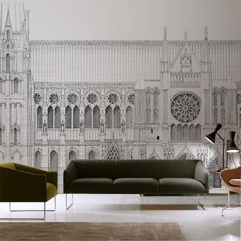 Ręcznie malowana francuska architektura mural Notre Dame w paryżu prosta nowoczesna sofa tło telewizora ściana niestandardowa tapeta wodoodporna tanie i dobre opinie YISL NONE CN (pochodzenie) USD rolka Tapeta jedwabna Nowoczesne Tapety materiałowe Włókniny do pokoju z pościelą KİTCHEN