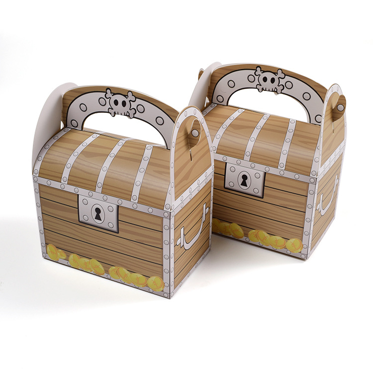 12PCS Small Pirate Skull Treasure Chest Candy Box Handle Wooden Muffin Cake Packaging Box Gift Boy Kid Happy Birthday Party