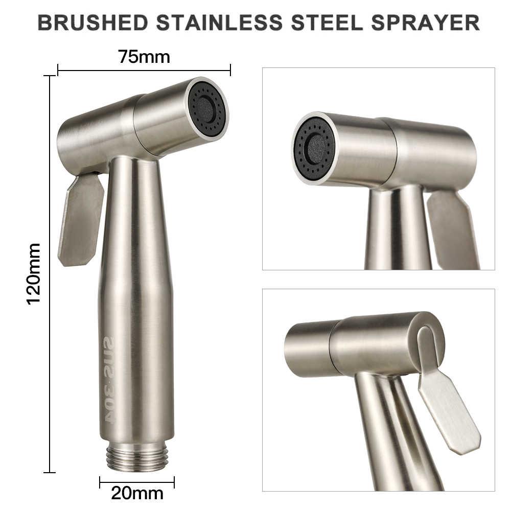 Ręczny Bidet kran ze stali nierdzewnej ręczny Bidet opryskiwacze szczotkowane pistolet na wodę pistolet do natrysku narzędzia do czyszczenia łazienki
