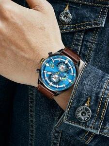Кварцевые мужские часы с мини-фокусом, водонепроницаемые, с синим кожаным ремешком, люксовый бренд, модный дизайн, многофункциональные спор...