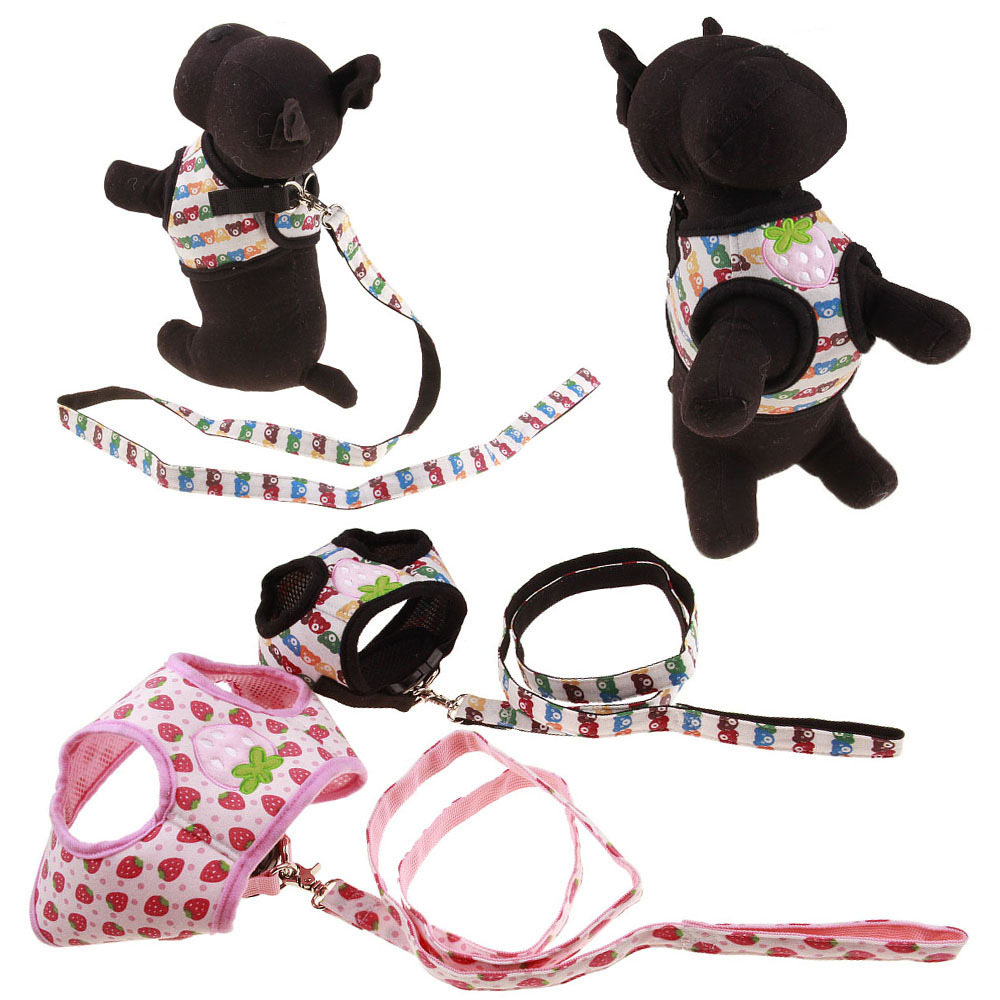 Pet's Chest-back Haulage Rope Package Strawberry Bear 2 PCs Fancy 3 PCs Specification Dog Supplies Chest And Back