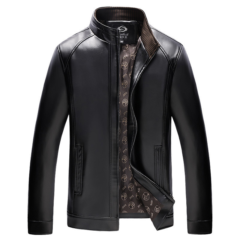 Autumn And Winter New Style Middle-aged Stand Collar Leather PU Jacket Daddy Clothes Large Size Versatile Coat Zipper Leather Co