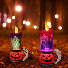 Хэллоуин череп свеча пламя светильник светодиодный Тыква светящийся