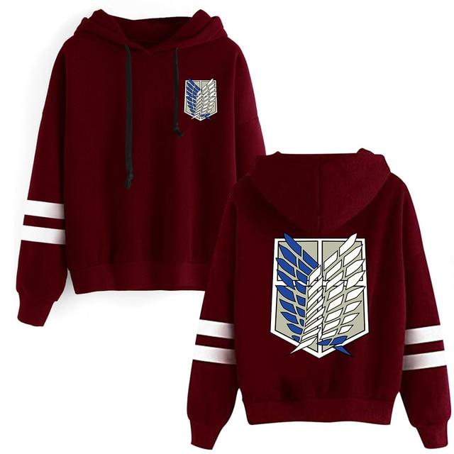 Attack on Titan Long Sleeved Striped Hooded Sweatshirt Pullover Tops Harajuku 3