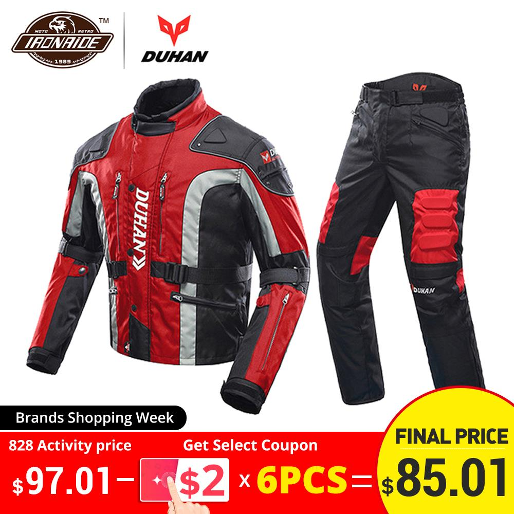 DUHAN Motorcycle Jacket Protector Clothing Moto-Suit Touring Winter Autumn Pants Cold-Proof