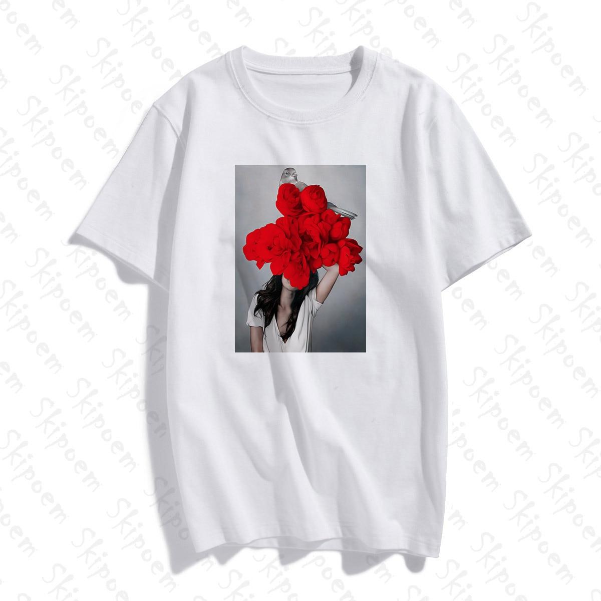 Nordic Sexy Art Woman With Flowers Tshirt Women Gothic Tumblr Kawaii Punk Plus Size Cotton Short Sleeve T Shirt Femme Streetwear
