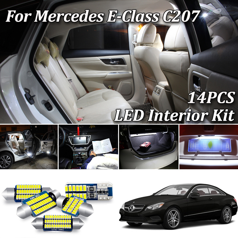 14Pcs LED bulb interior dome light Kit For <font><b>Mercedes</b></font> E class C207 W207 <font><b>Coupe</b></font> E200 E220 E250 E260 <font><b>E300</b></font> E320 E350 E400 E500 E550 image