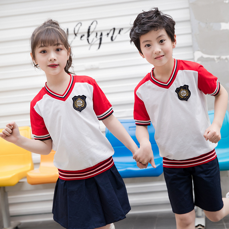 School Uniform Kindergarten Suit 2019 Summer New Style Primary School STUDENT'S Short Sleeve Business Attire Children Sports Clo