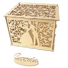 DIY свадебная открытка коробка деревянная коробка для денег с замком великолепное свадебное украшение поставки для дня рождения хранения денег@ D