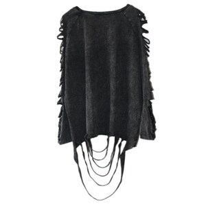 Image 2 - [Xitao] 2016 ホット販売ヨーロッパパンク人格のスタイルの女性洗濯 ブラックカラー中空アウトとタッセル女性tシャツYJ001