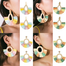 creative boucles d oreille femme handmade earrings female Simple rattan woven drop-shaped brincos para as mulheres