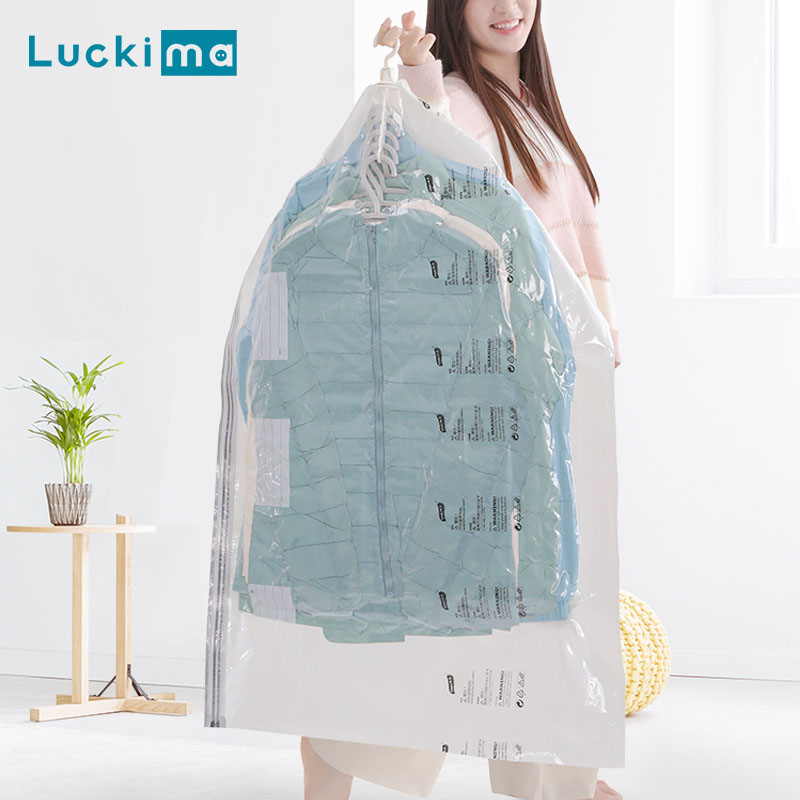 Clothes Vacuum Storage Bags For Home Max Space Saving Hanging Type Free Pump Dustproof Dampproof Creaseproof Space Saver Bag