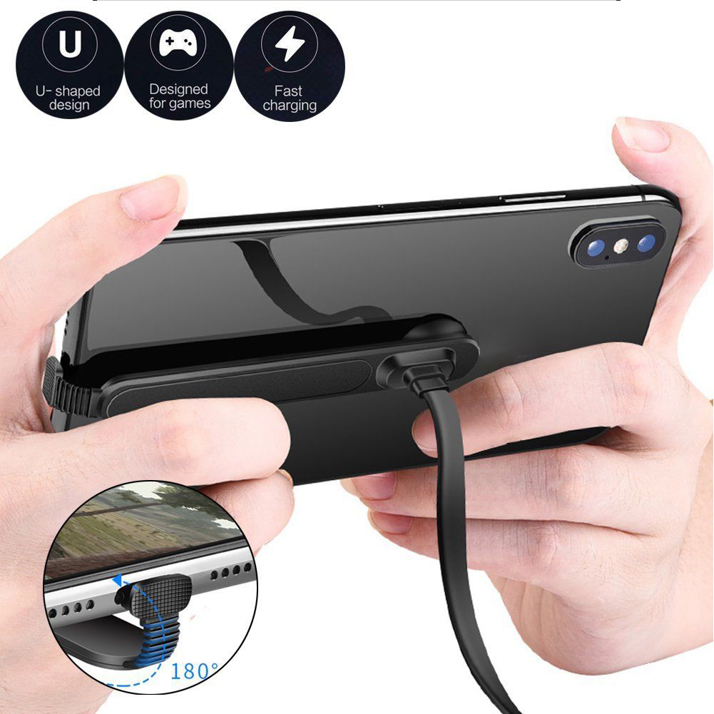180° U Type TPE Sucker Gaming Flat Charging Cable Accessory Fast Charge Overheat Protection Mobile Phone Charger