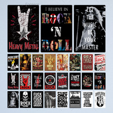 Rock & Roll Metal Sign Tin Sign Plaque Metal Vintage Rock Metal Poster Retro Wall Decor for Bar Pub Club Man Cave