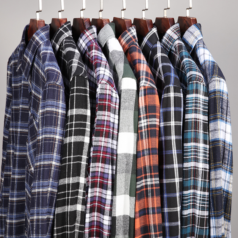 100% Cotton Flannel Men's Plaid Shirt Loose Fit Spring Autumn Male Casual Long Sleeved Shirts Soft Comfortable