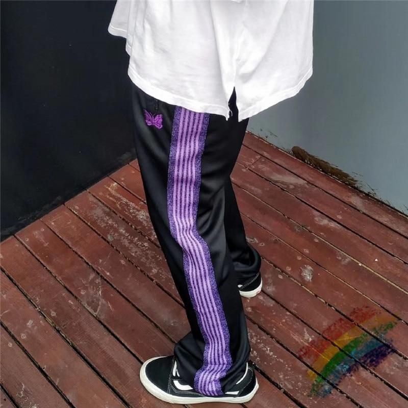Purple Ribbon Striped Embroidery Butterfly AWGE Needles Sweatpants Men Women Pants Jogger AWGE Trousers