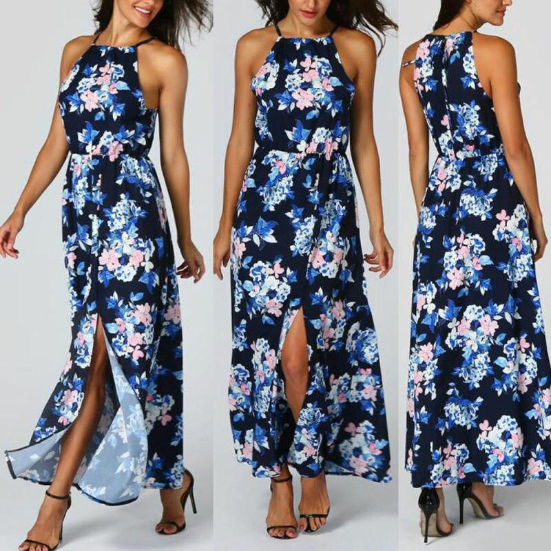 Women Sleeveless Floral Halter Dress Split Summer Beach Chiffon Maxi Long Dress in Dresses from Women 39 s Clothing
