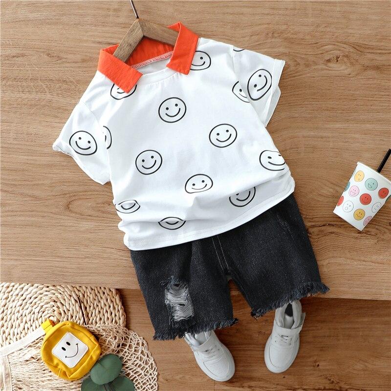 hylkidhuose 2020 bebe meninos conjuntos de roupas verao infantil camisa manga curta denim shorts criancas criancas