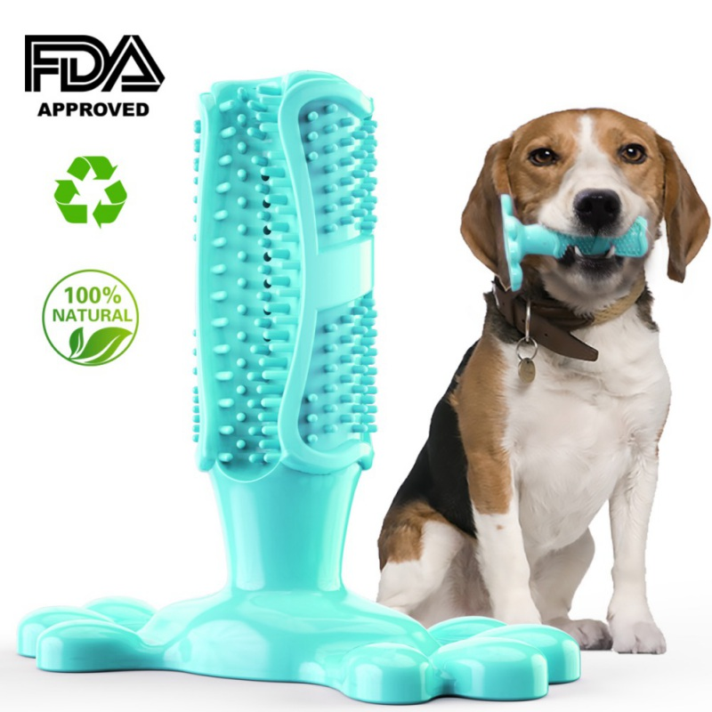 Dog Toothbrush Toy Doggy Brushing Stick Non Toxic Soft Rubber Bite Resistant Dental Puppy Chew Toy for Teeth Cleaning image