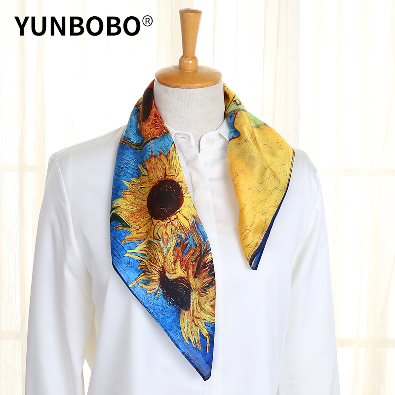 Designer Brand Women Scarf Fashion  Flower Print Silk Scarves Square Small Handkerchief Office Neck Hair Scarfs